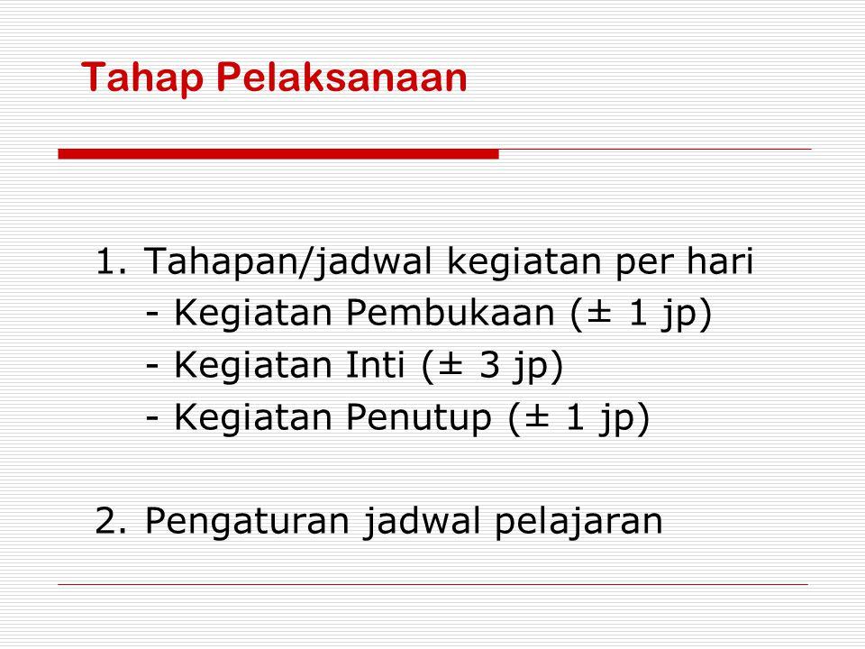 Tahap Pelaksanaan 1.Tahapan/jadwal kegiatan per hari - Kegiatan Pembukaan (± 1 jp) - Kegiatan Inti (± 3 jp) - Kegiatan Penutup (± 1 jp) 2.Pengaturan j