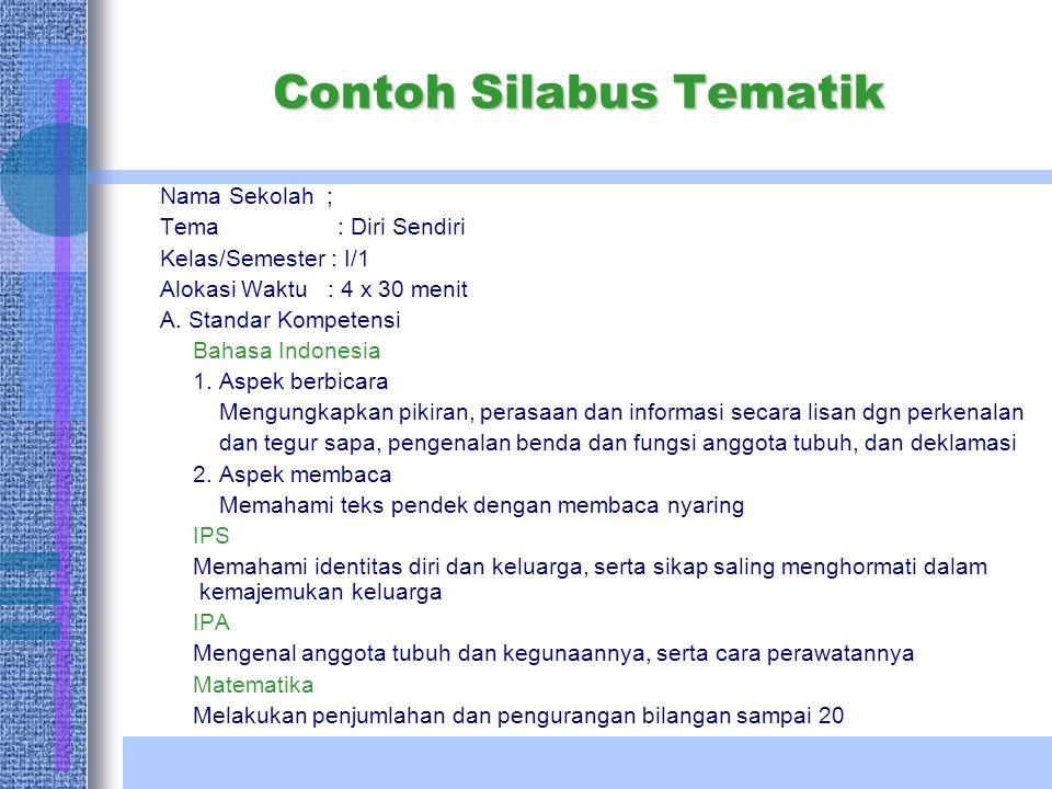 Contoh Silabus Tematik Nama Sekolah ; Tema : Diri Sendiri Kelas/Semester : I/1 Alokasi Waktu : 4 x 30 menit A. Standar Kompetensi Bahasa Indonesia 1.