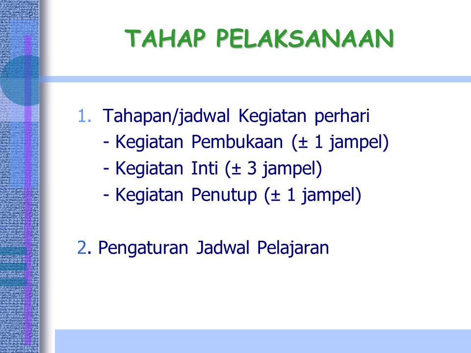 TAHAP PELAKSANAAN 1.Tahapan/jadwal Kegiatan perhari - Kegiatan Pembukaan (± 1 jampel) - Kegiatan Inti (± 3 jampel) - Kegiatan Penutup (± 1 jampel) 2.