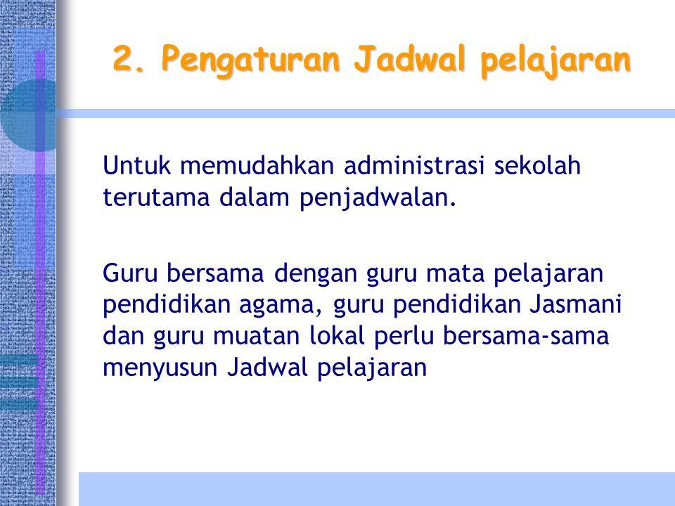 2. Pengaturan Jadwal pelajaran Untuk memudahkan administrasi sekolah terutama dalam penjadwalan. Guru bersama dengan guru mata pelajaran pendidikan ag