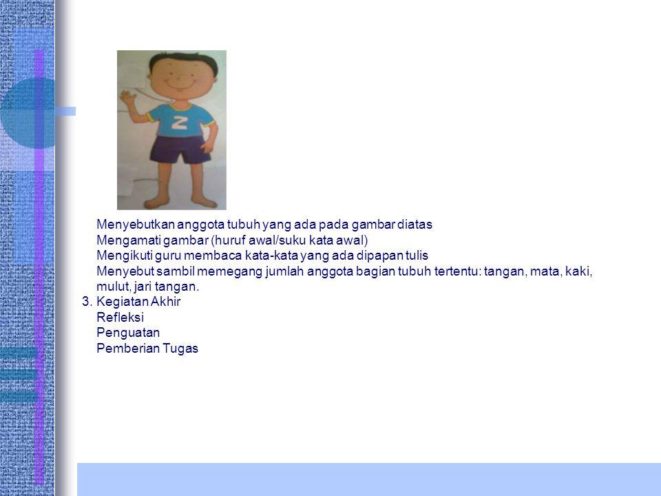 Menyebutkan anggota tubuh yang ada pada gambar diatas Mengamati gambar (huruf awal/suku kata awal) Mengikuti guru membaca kata-kata yang ada dipapan t