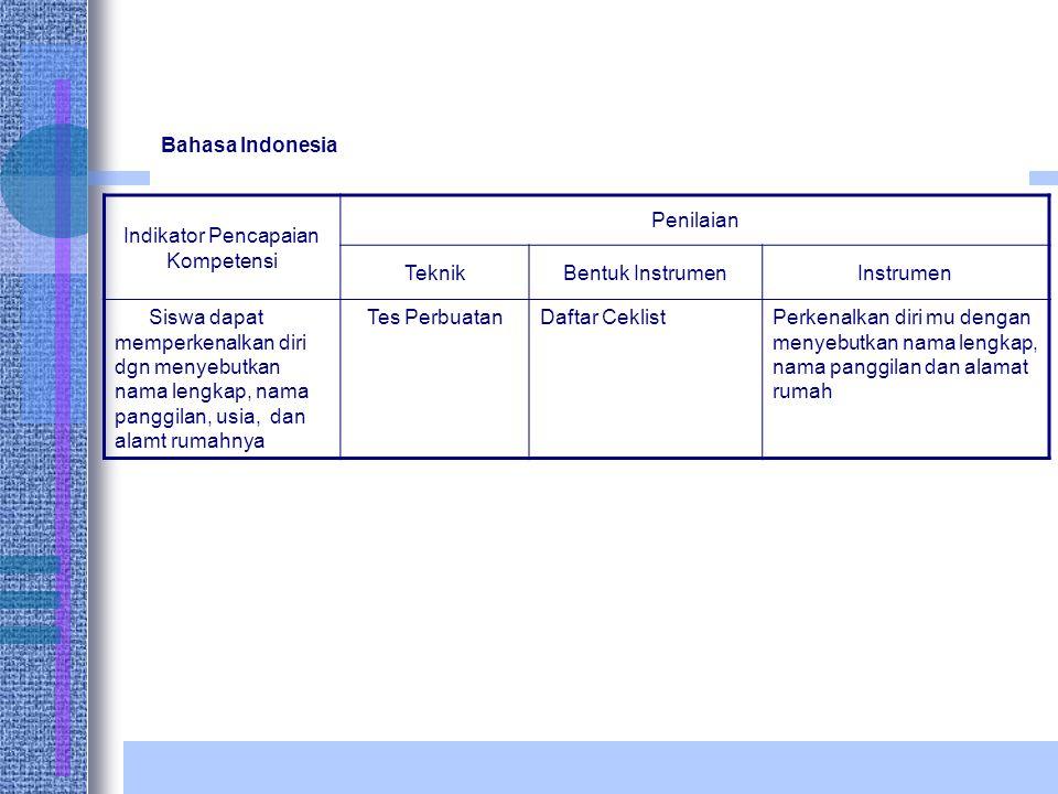 Bahasa Indonesia Indikator Pencapaian Kompetensi Penilaian TeknikBentuk InstrumenInstrumen Siswa dapat memperkenalkan diri dgn menyebutkan nama lengkap, nama panggilan, usia, dan alamt rumahnya Tes PerbuatanDaftar CeklistPerkenalkan diri mu dengan menyebutkan nama lengkap, nama panggilan dan alamat rumah