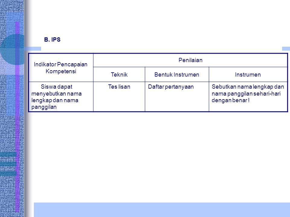 B. IPS Indikator Pencapaian Kompetensi Penilaian TeknikBentuk InstrumenInstrumen Siswa dapat menyebutkan nama lengkap dan nama panggilan Tes lisanDaft