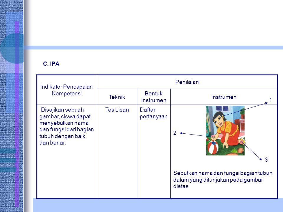C. IPA Indikator Pencapaian Kompetensi Penilaian Teknik Bentuk Instrumen Instrumen Disajikan sebuah gambar, siswa dapat menyebutkan nama dan fungsi da