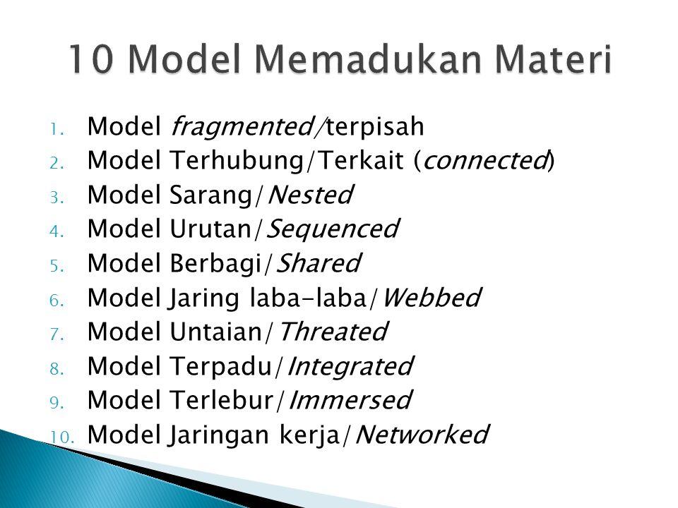 1. Model fragmented/terpisah 2. Model Terhubung/Terkait (connected) 3. Model Sarang/Nested 4. Model Urutan/Sequenced 5. Model Berbagi/Shared 6. Model