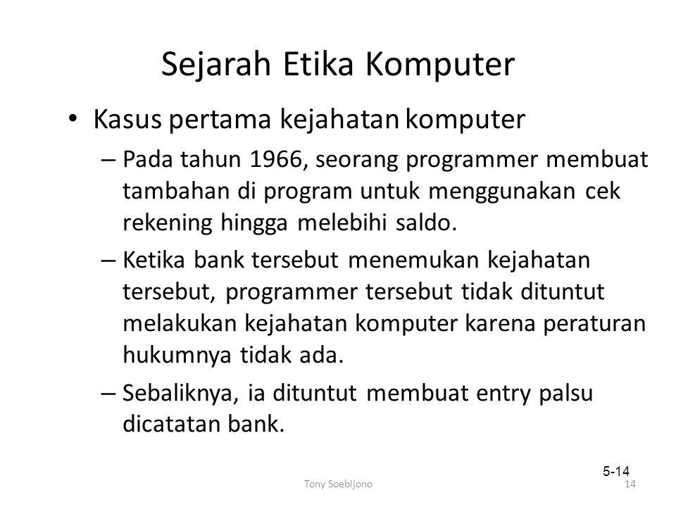 Sejarah Etika Komputer Kasus pertama kejahatan komputer – Pada tahun 1966, seorang programmer membuat tambahan di program untuk menggunakan cek rekening hingga melebihi saldo.
