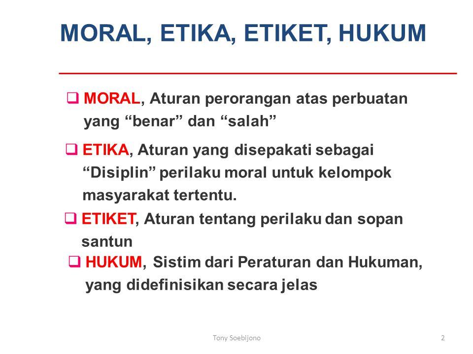 MORAL, ETIKA, ETIKET, HUKUM  ETIKET, Aturan tentang perilaku dan sopan santun  HUKUM, Sistim dari Peraturan dan Hukuman, yang didefinisikan secara jelas  MORAL, Aturan perorangan atas perbuatan yang benar dan salah  ETIKA, Aturan yang disepakati sebagai Disiplin perilaku moral untuk kelompok masyarakat tertentu.