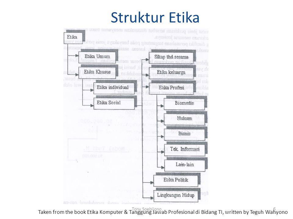 Struktur Etika Taken from the book Etika Komputer & Tanggung Jawab Profesional di Bidang TI, written by Teguh Wahyono 6Tony Soebijono