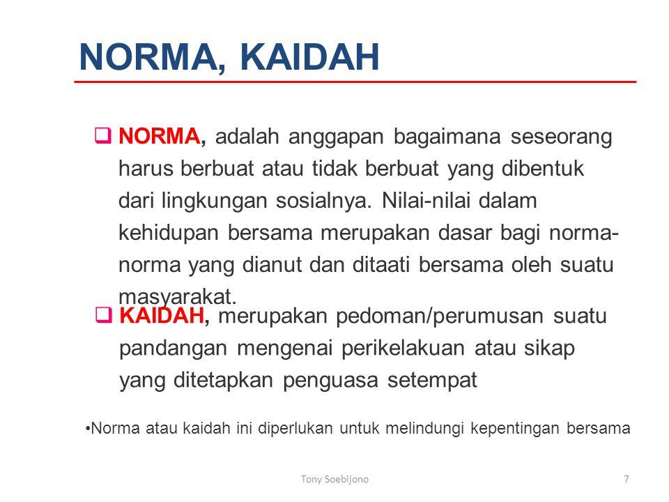 NORMA, KAIDAH  NORMA, adalah anggapan bagaimana seseorang harus berbuat atau tidak berbuat yang dibentuk dari lingkungan sosialnya.