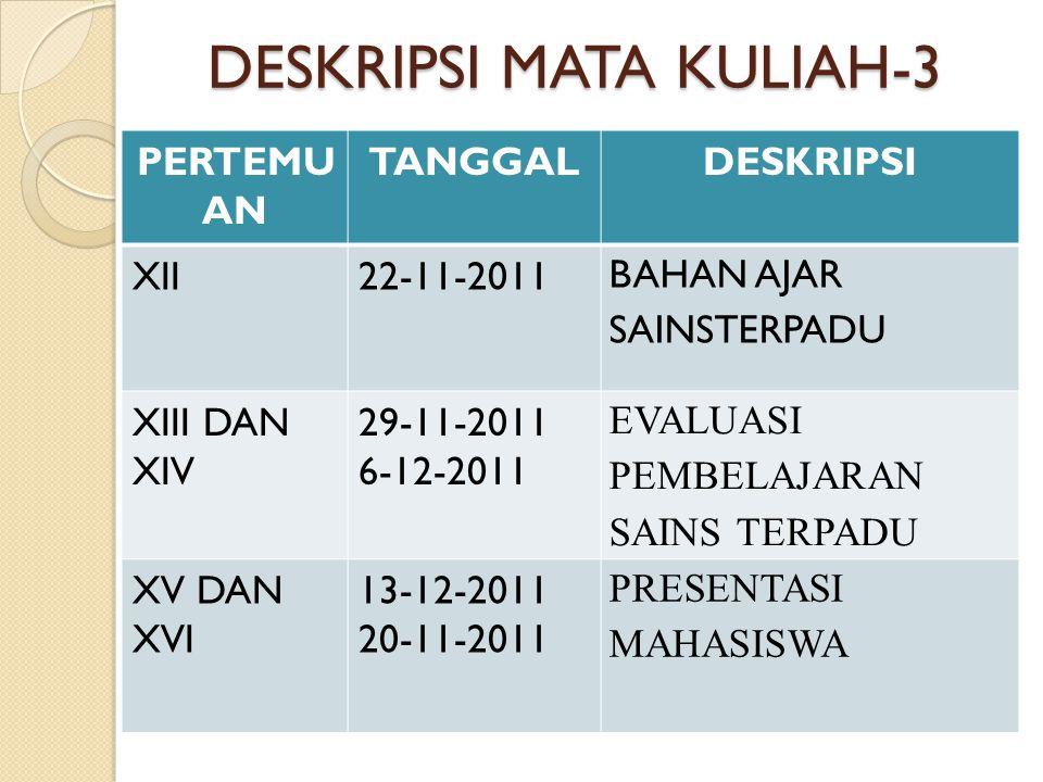 DESKRIPSI MATA KULIAH-3 PERTEMU AN TANGGALDESKRIPSI XII22-11-2011 BAHAN AJAR SAINSTERPADU XIII DAN XIV 29-11-2011 6-12-2011 EVALUASI PEMBELAJARAN SAIN