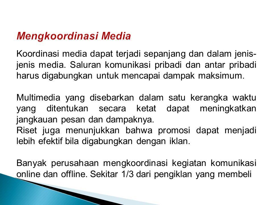 Koordinasi media dapat terjadi sepanjang dan dalam jenis- jenis media.
