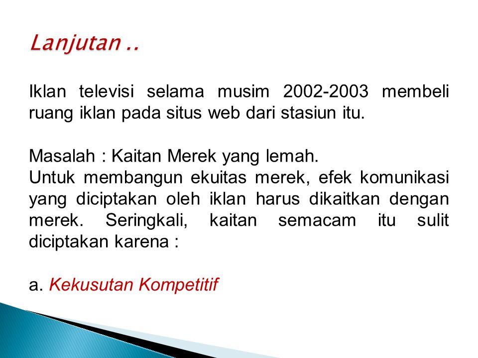Iklan televisi selama musim 2002-2003 membeli ruang iklan pada situs web dari stasiun itu.