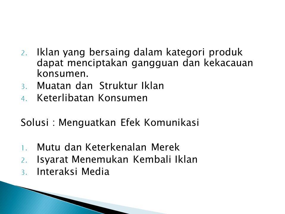 2.Iklan yang bersaing dalam kategori produk dapat menciptakan gangguan dan kekacauan konsumen.