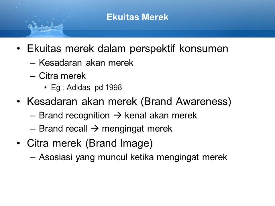 Ekuitas Merek Ekuitas merek dalam perspektif konsumen –Kesadaran akan merek –Citra merek Eg : Adidas pd 1998 Kesadaran akan merek (Brand Awareness) –B