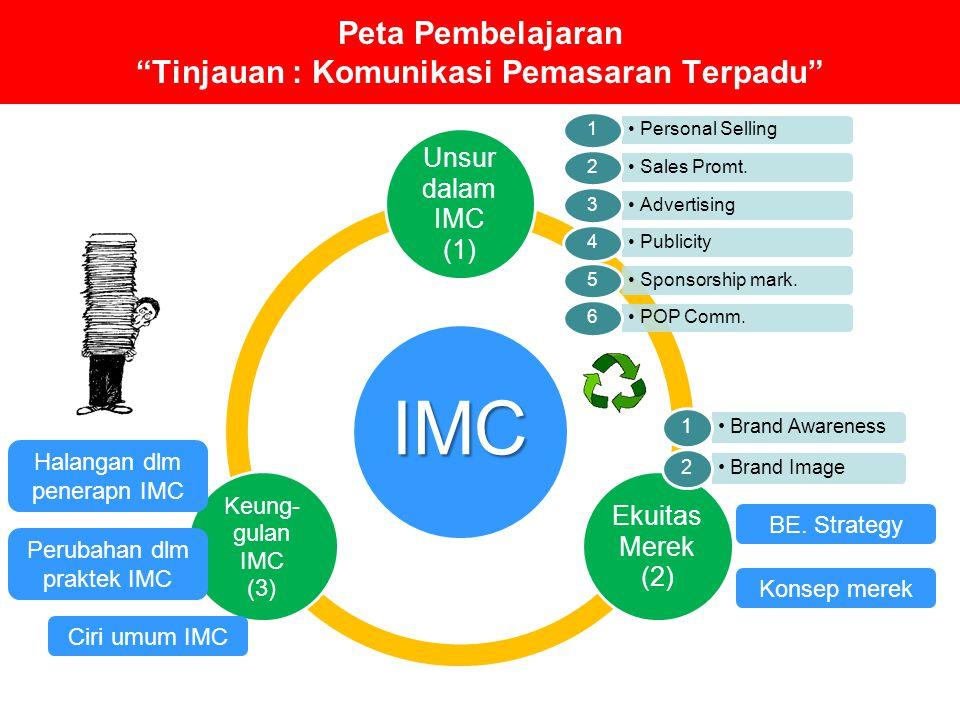 "Peta Pembelajaran ""Tinjauan : Komunikasi Pemasaran Terpadu"" IMC Unsur dalam IMC (1) Ekuitas Merek (2) Keung- gulan IMC (3) Personal Selling 1 Sales Pr"