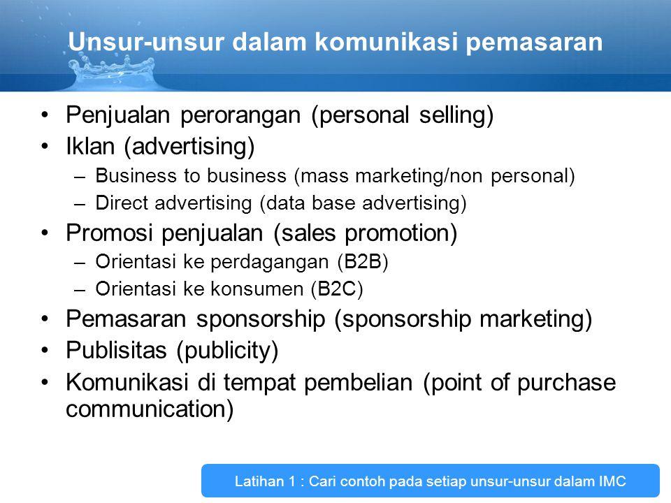 Unsur-unsur dalam komunikasi pemasaran Penjualan perorangan (personal selling) Iklan (advertising) –Business to business (mass marketing/non personal)