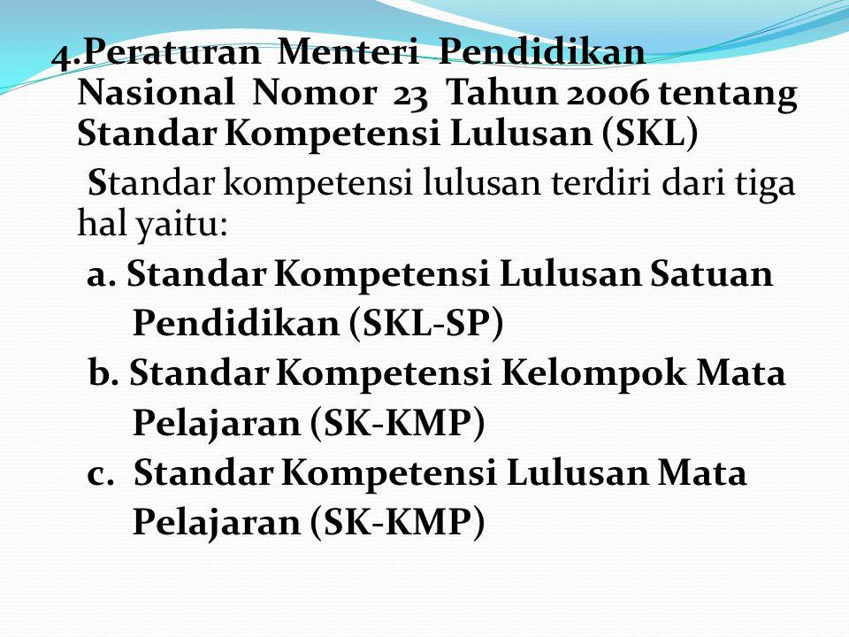 4.Peraturan Menteri Pendidikan Nasional Nomor 23 Tahun 2006 tentang Standar Kompetensi Lulusan (SKL) Standar kompetensi lulusan terdiri dari tiga hal