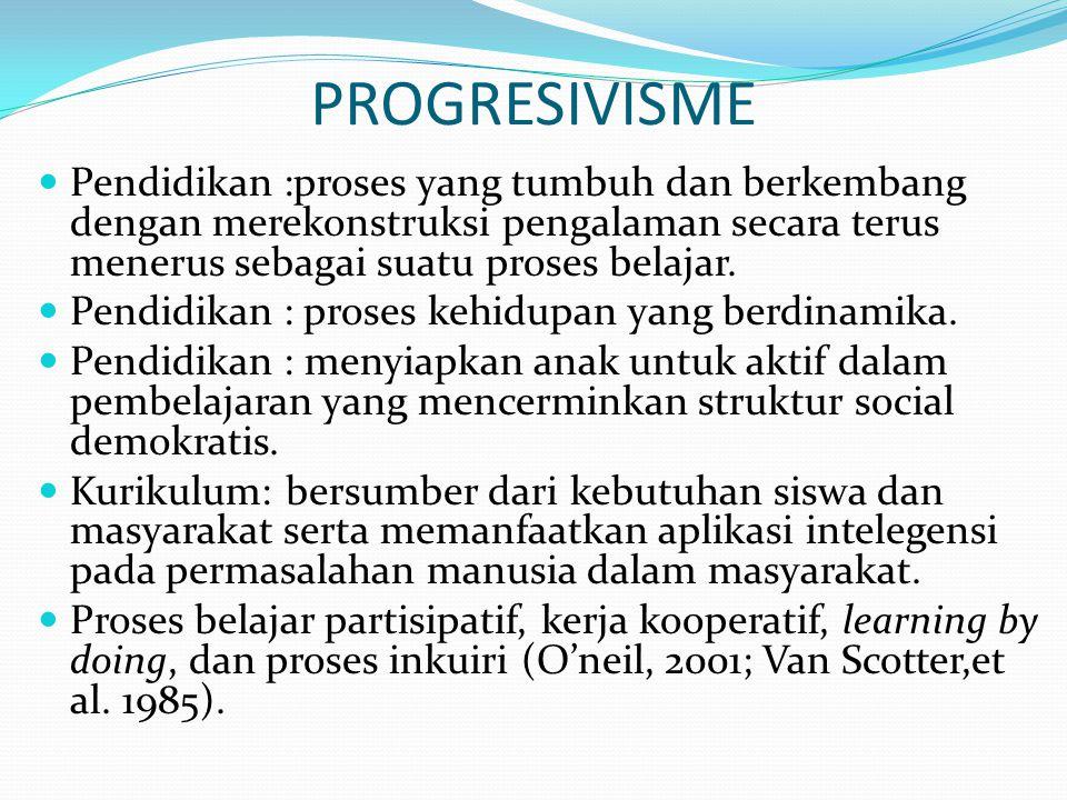 PROGRESIVISME Pendidikan :proses yang tumbuh dan berkembang dengan merekonstruksi pengalaman secara terus menerus sebagai suatu proses belajar. Pendid