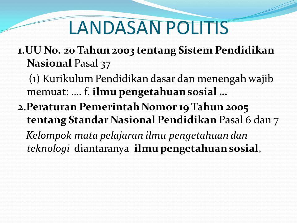 LANDASAN POLITIS 1.UU No. 20 Tahun 2003 tentang Sistem Pendidikan Nasional Pasal 37 (1) Kurikulum Pendidikan dasar dan menengah wajib memuat: …. f. il