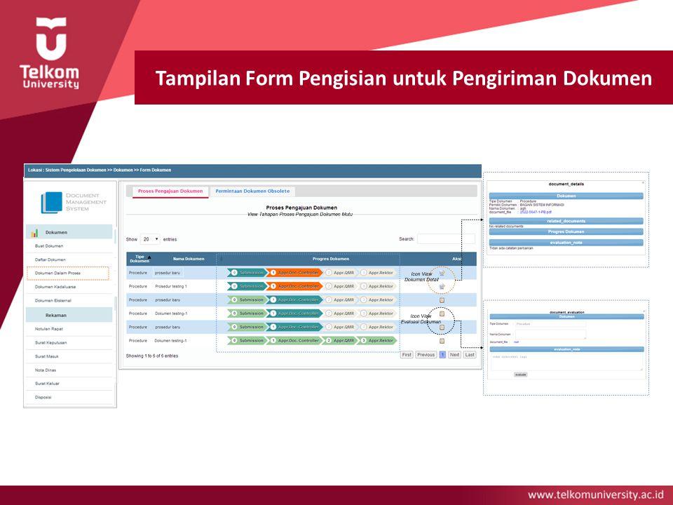 Tampilan Form Pengisian untuk Pengiriman Dokumen