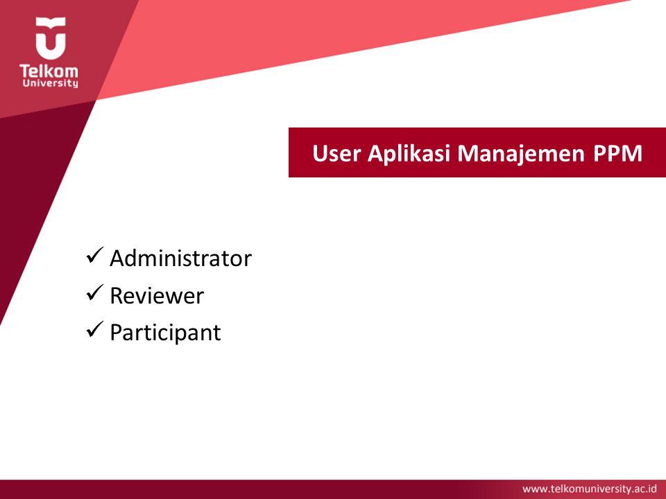 User Aplikasi Manajemen PPM Administrator Reviewer Participant