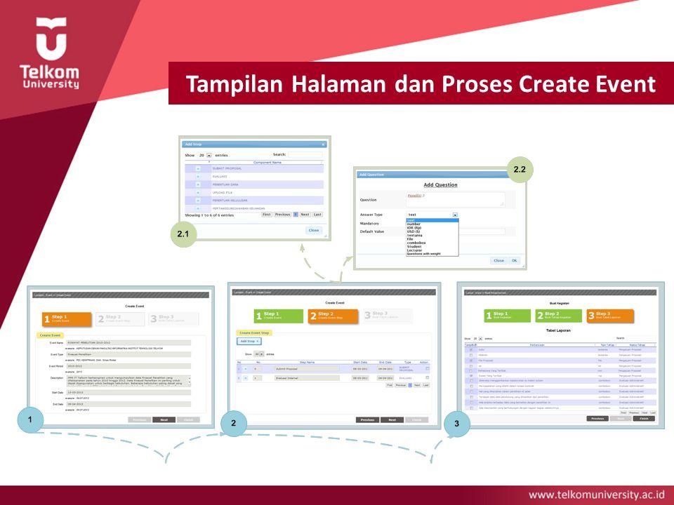 Tampilan Halaman dan Proses Create Event