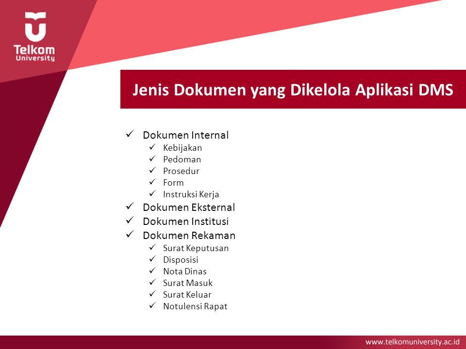 Jenis Dokumen yang Dikelola Aplikasi DMS Dokumen Internal Kebijakan Pedoman Prosedur Form Instruksi Kerja Dokumen Eksternal Dokumen Institusi Dokumen