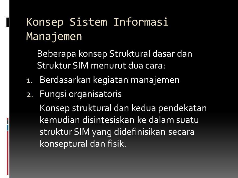 Konsep Sistem Informasi Manajemen Beberapa konsep Struktural dasar dan Struktur SIM menurut dua cara: 1.