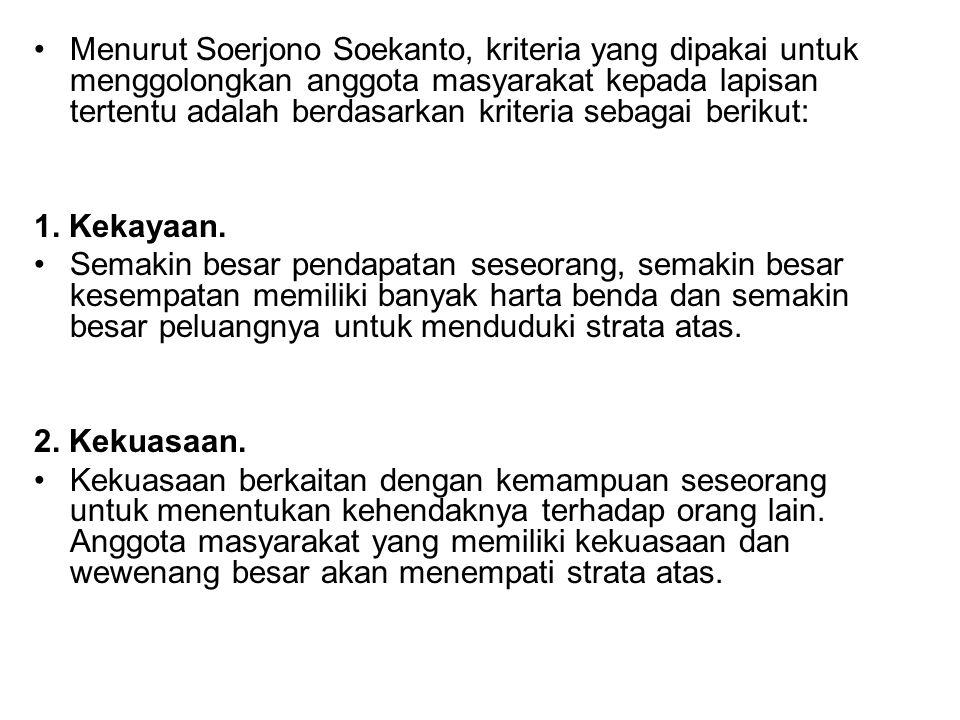 Menurut Soerjono Soekanto, kriteria yang dipakai untuk menggolongkan anggota masyarakat kepada lapisan tertentu adalah berdasarkan kriteria sebagai berikut: 1.