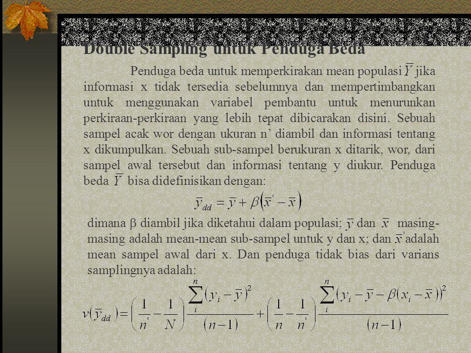 Double Sampling untuk Penduga Beda (lanjutan) Jika sebuah sampel acak langsung diambil tanpa menggunkan prosedur double sampling, ukuran sampel untuk biaya yang sama C = C 0 + nC 1 + n ' C 1 ' akan diperoleh dengan: dengan varians sampling dari mean sampel akan menjadi: dengan mengambil  = k S y /S x, kondisi bahwa double sampling adalah lebih tepat dari pada suatu pengambilan sampel acak secara langsung akan diperoleh dengan: