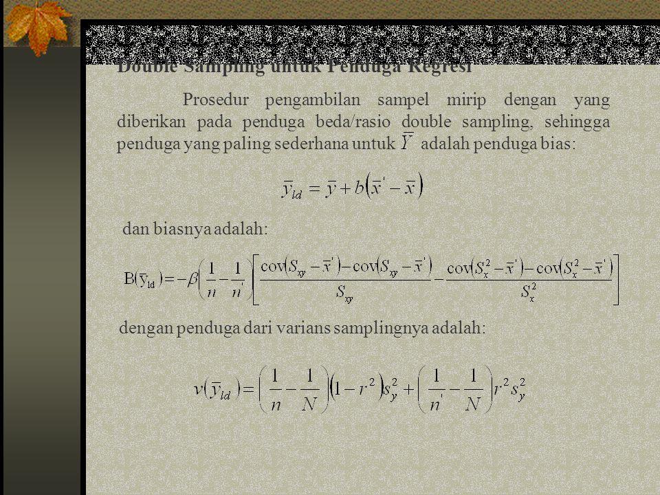 Double Sampling untuk Penduga Regresi (lanjutan) Nilai optimum dari n dan n' yang berhubungan dengan fungsi biaya adalah: 1.