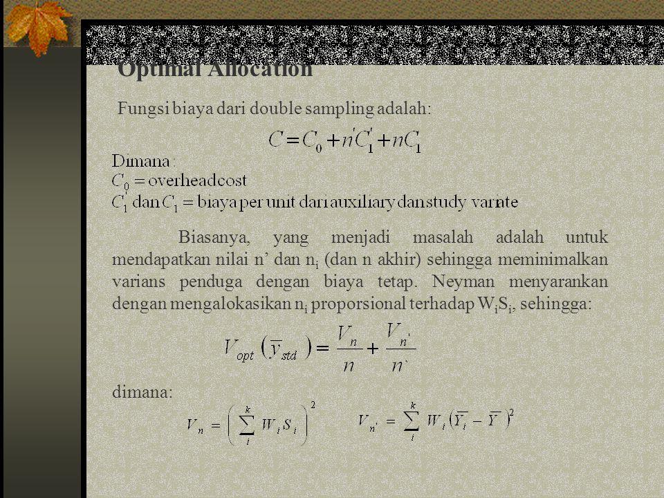 Optimal Allocation (lanjutan) Nilai optimum dari n dan n' adalah: Sehingga varians minimumnya adalah: