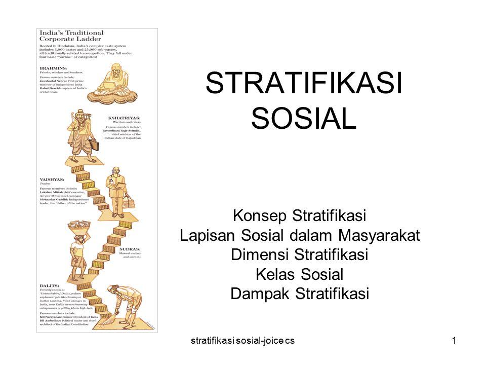stratifikasi sosial-joice cs1 STRATIFIKASI SOSIAL Konsep Stratifikasi Lapisan Sosial dalam Masyarakat Dimensi Stratifikasi Kelas Sosial Dampak Stratifikasi