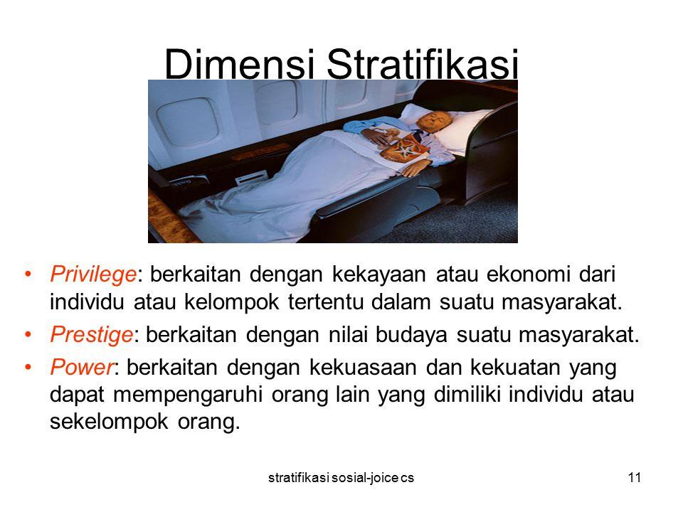 stratifikasi sosial-joice cs11 Dimensi Stratifikasi Privilege: berkaitan dengan kekayaan atau ekonomi dari individu atau kelompok tertentu dalam suatu masyarakat.
