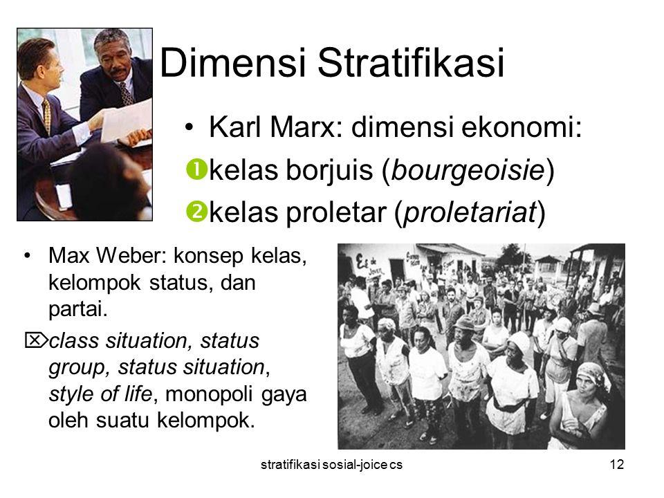 stratifikasi sosial-joice cs12 Dimensi Stratifikasi Max Weber: konsep kelas, kelompok status, dan partai.  class situation, status group, status situ
