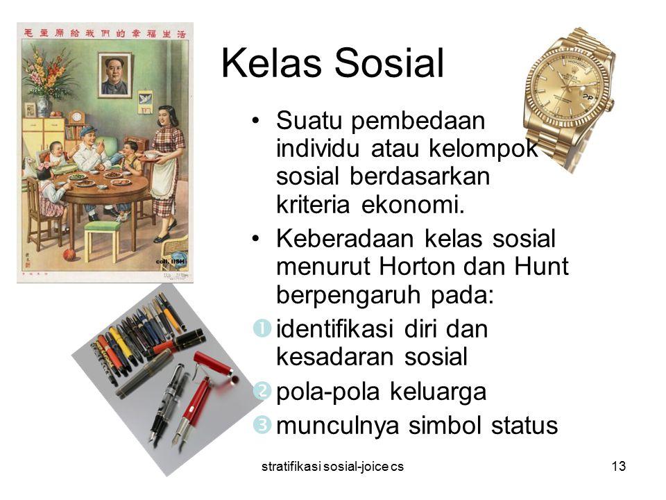 stratifikasi sosial-joice cs13 Kelas Sosial Suatu pembedaan individu atau kelompok sosial berdasarkan kriteria ekonomi. Keberadaan kelas sosial menuru