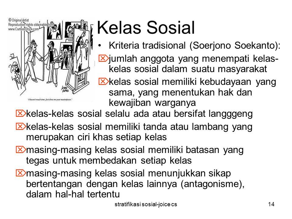 stratifikasi sosial-joice cs14 Kelas Sosial  kelas-kelas sosial selalu ada atau bersifat langggeng  kelas-kelas sosial memiliki tanda atau lambang y