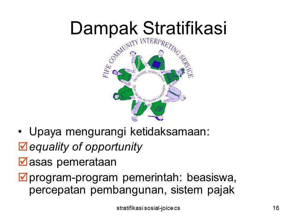 stratifikasi sosial-joice cs16 Dampak Stratifikasi Upaya mengurangi ketidaksamaan:  equality of opportunity  asas pemerataan  program-program pemer