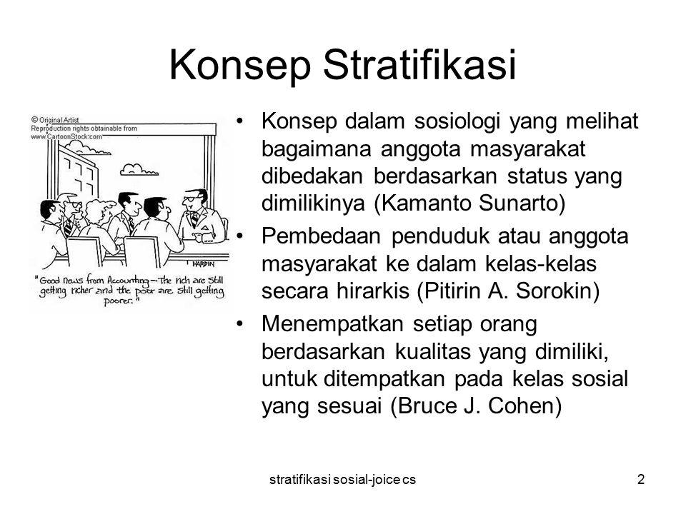stratifikasi sosial-joice cs2 Konsep Stratifikasi Konsep dalam sosiologi yang melihat bagaimana anggota masyarakat dibedakan berdasarkan status yang dimilikinya (Kamanto Sunarto) Pembedaan penduduk atau anggota masyarakat ke dalam kelas-kelas secara hirarkis (Pitirin A.