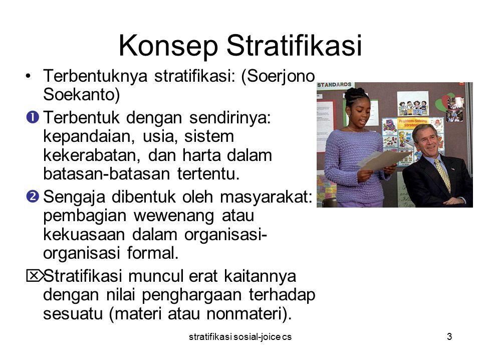 stratifikasi sosial-joice cs3 Konsep Stratifikasi Terbentuknya stratifikasi: (Soerjono Soekanto)  Terbentuk dengan sendirinya: kepandaian, usia, sistem kekerabatan, dan harta dalam batasan-batasan tertentu.