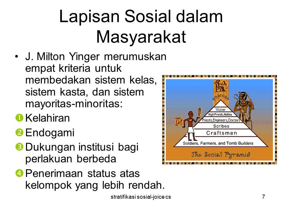stratifikasi sosial-joice cs7 Lapisan Sosial dalam Masyarakat J. Milton Yinger merumuskan empat kriteria untuk membedakan sistem kelas, sistem kasta,