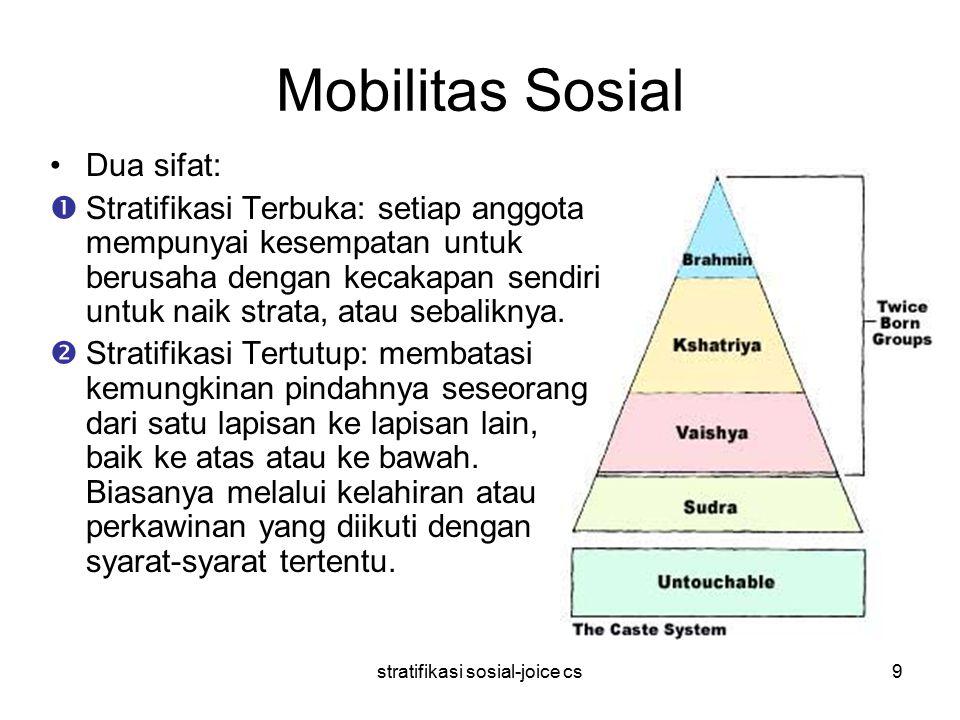 stratifikasi sosial-joice cs9 Mobilitas Sosial Dua sifat:  Stratifikasi Terbuka: setiap anggota mempunyai kesempatan untuk berusaha dengan kecakapan sendiri untuk naik strata, atau sebaliknya.