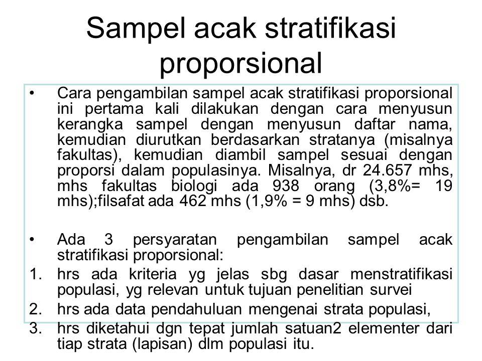 Sampel acak stratifikasi proporsional Cara pengambilan sampel acak stratifikasi proporsional ini pertama kali dilakukan dengan cara menyusun kerangka