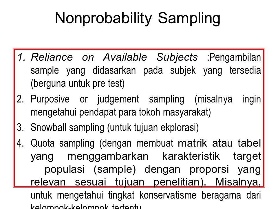 Nonprobability Sampling 1.Reliance on Available Subjects :Pengambilan sample yang didasarkan pada subjek yang tersedia (berguna untuk pre test) 2.Purp