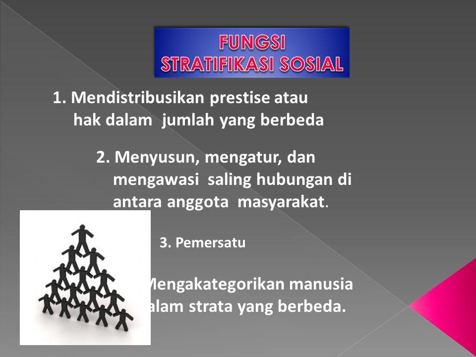 1. Mendistribusikan prestise atau hak dalam jumlah yang berbeda 2. Menyusun, mengatur, dan mengawasi saling hubungan di antara anggota masyarakat. 3.