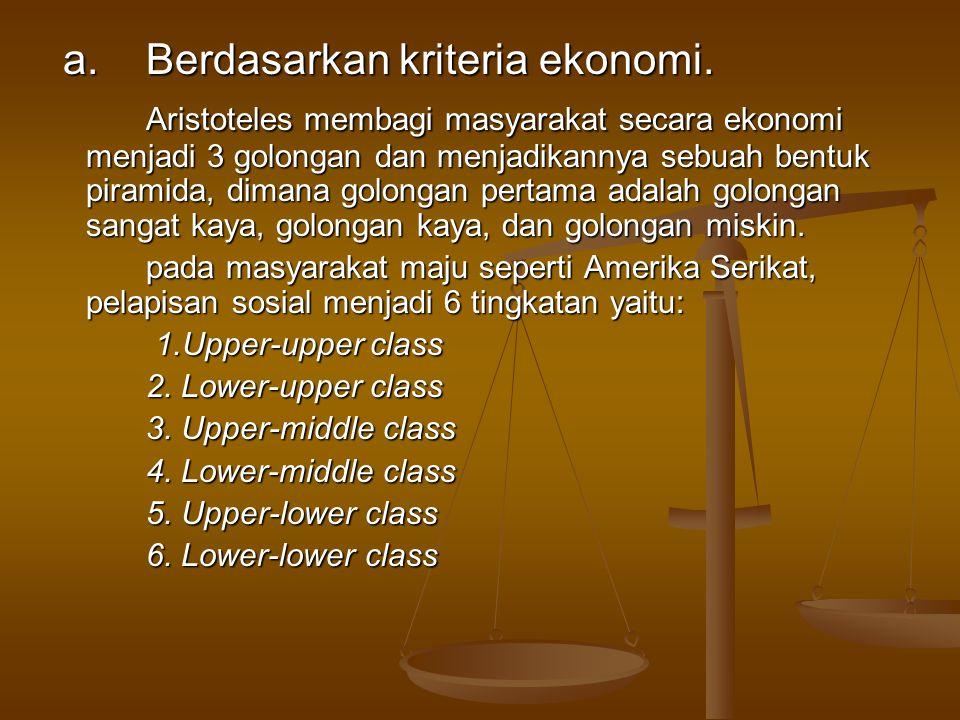 a.Berdasarkan kriteria ekonomi.a.Berdasarkan kriteria ekonomi.