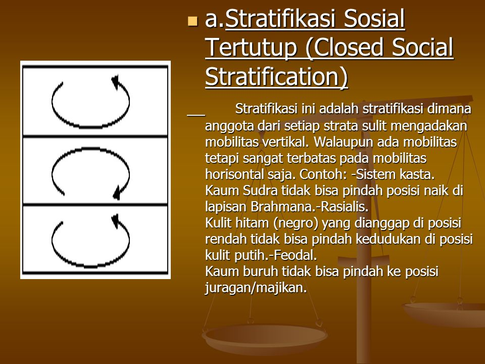 a.Stratifikasi Sosial Tertutup (Closed Social Stratification) Stratifikasi ini adalah stratifikasi dimana anggota dari setiap strata sulit mengadakan mobilitas vertikal.