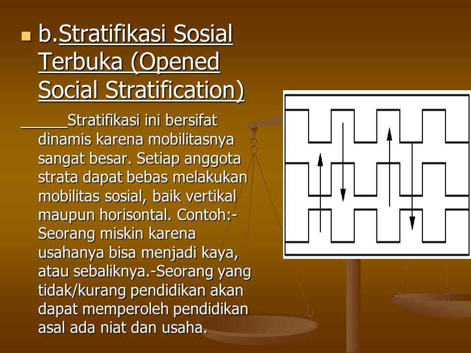 b.Stratifikasi Sosial Terbuka (Opened Social Stratification) b.Stratifikasi Sosial Terbuka (Opened Social Stratification) Stratifikasi ini bersifat dinamis karena mobilitasnya sangat besar.