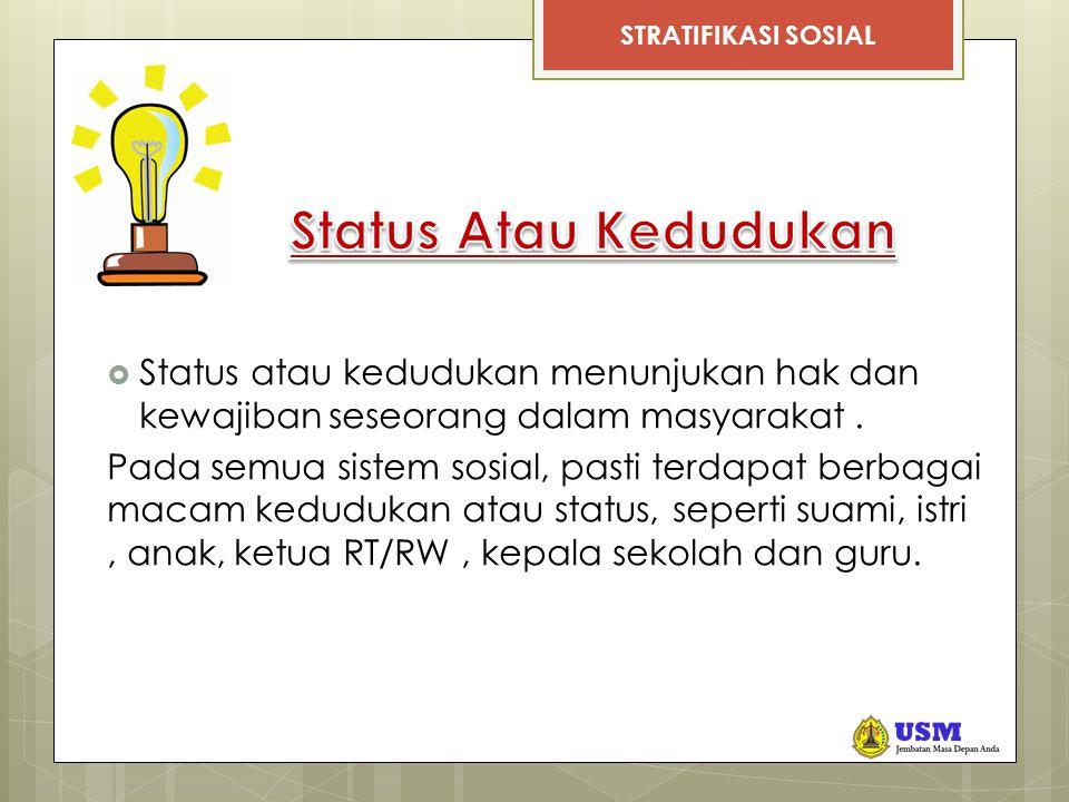 STRATIFIKASI SOSIAL  Status atau kedudukan menunjukan hak dan kewajiban seseorang dalam masyarakat.