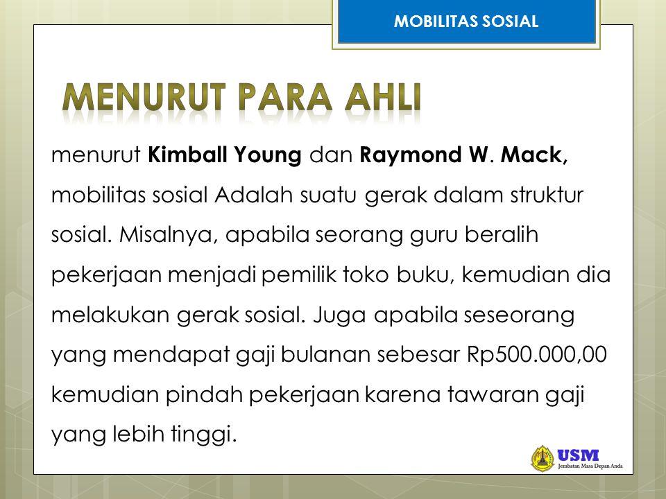 STRATIFIKASI SOSIAL menurut Kimball Young dan Raymond W. Mack, mobilitas sosial Adalah suatu gerak dalam struktur sosial. Misalnya, apabila seorang gu